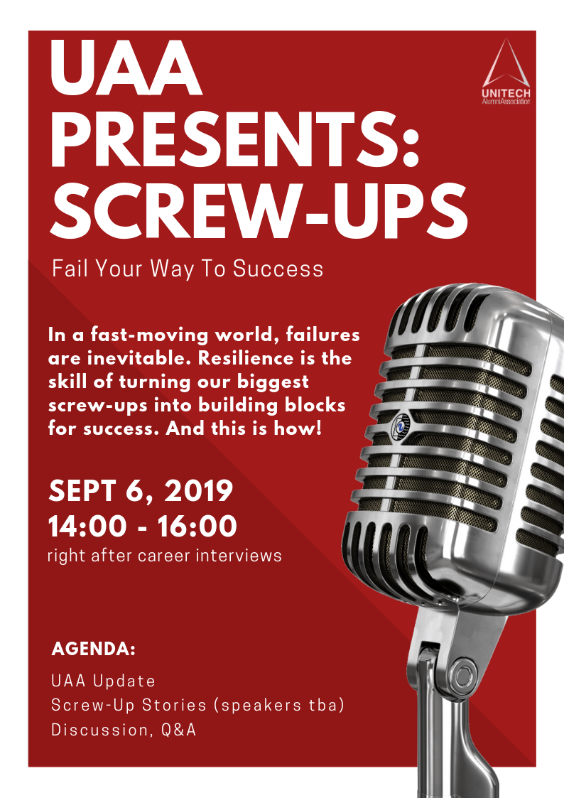 "UAA invites you to ""Screw-Ups"" – Fail Your Way To Success"